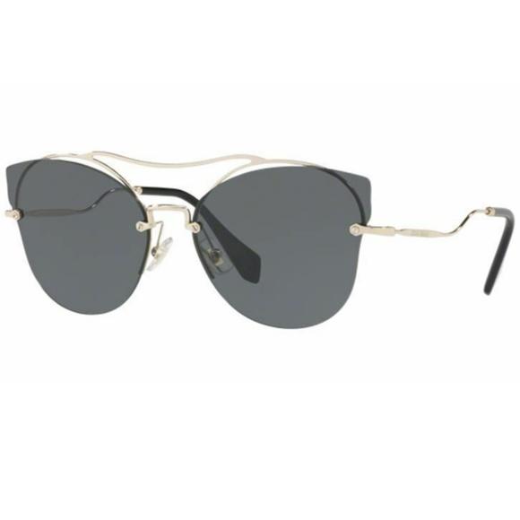 16a3986400f8 Miu Miu Sunglasses Pale Gold w Grey Lens
